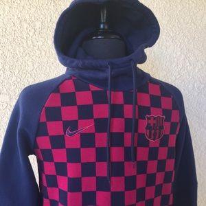 Nike Pullover Hoodie Sweatshirt Soccer Team FCB S